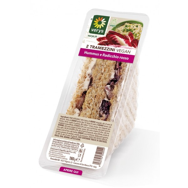 Verys - Sandwiches with Hummus and Treviso's Red Chicory - Tramezzini Vegan - Snack - Vegan Organic - 2 x 90 g