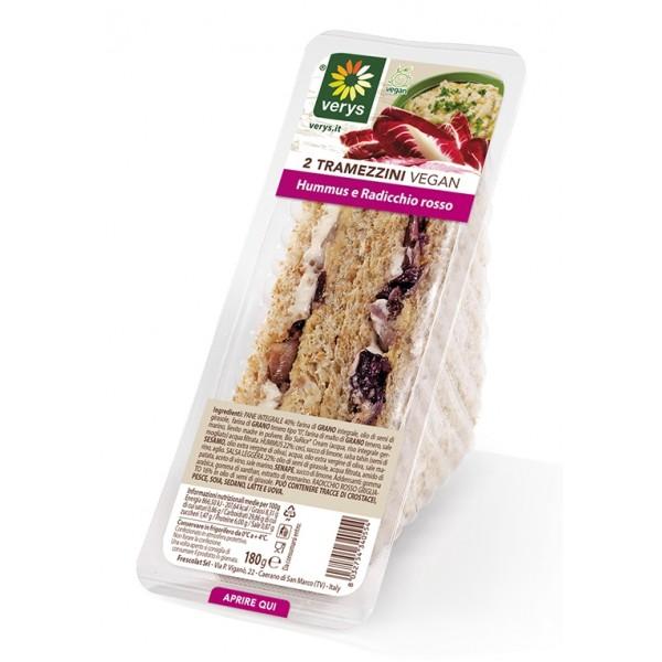 Verys - Tramezzini con Hummus e Radicchio Rosso - Tramezzini Vegan - Snack - Vegan Bio - 2 x 90 g