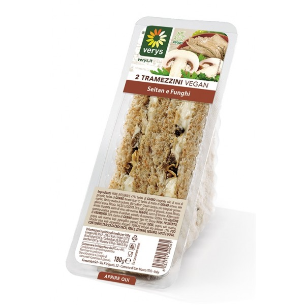 Verys - Sandwiches with Seitan and Mushrooms - Tramezzini Vegan - Snack - Vegan Organic - 2 x 90 g
