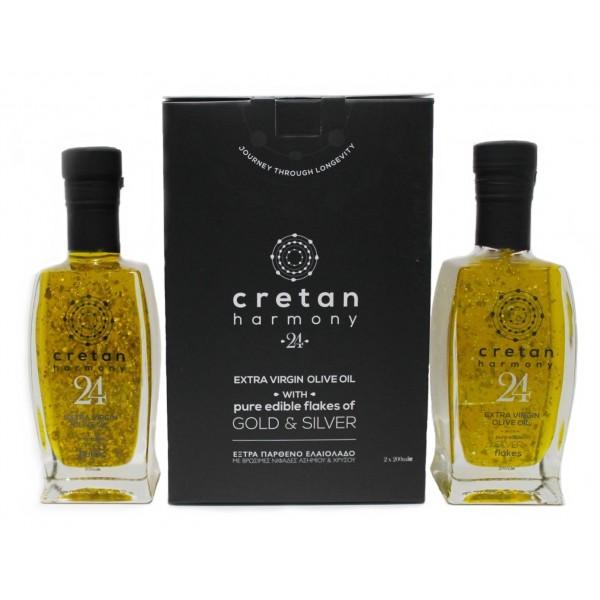 Cretan Harmony 24 - Olio Extravergine di Oliva con Fiocchi d'Oro e d'Argento - Duo Pack - 2 x 200 ml