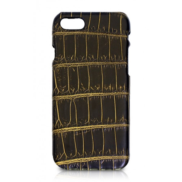 Ammoment - Nile Crocodile in Crack Black and Gold - Leather Cover - iPhone 8 / 7