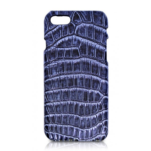 Ammoment - Coccodrillo del Nilo in Navy Antico - Cover in Pelle - iPhone 8 / 7