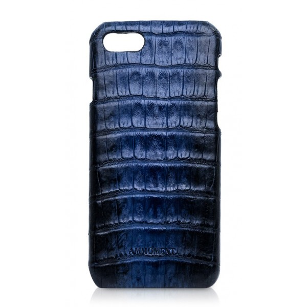 Ammoment - Caimano in Nero Navy Antico - Cover in Pelle - iPhone 8 / 7