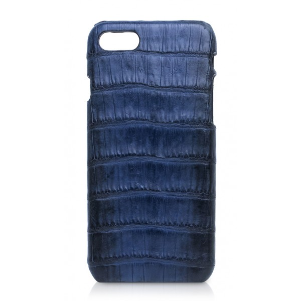 Ammoment - Caimano in Blu Chiaro-Scuro Antico - Cover in Pelle - iPhone 8 / 7