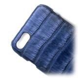 Ammoment - Caimano in Blu Chiaro-Scuro Antico - Cover in Pelle - iPhone 8 / 7