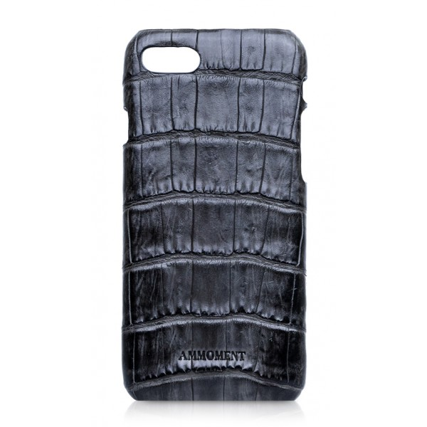 Ammoment - Caiman in Degrade Coal New Age - Leather Cover - iPhone 8 / 7