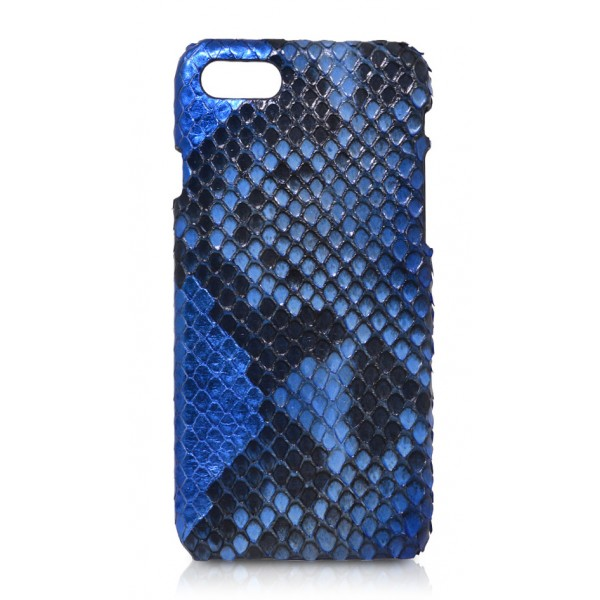 Ammoment - Python in Alien Royal Blue - Leather Cover - iPhone 8 / 7