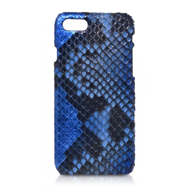 Ammoment - Pitone in Blu Reale Alien - Cover in Pelle - iPhone 8 / 7