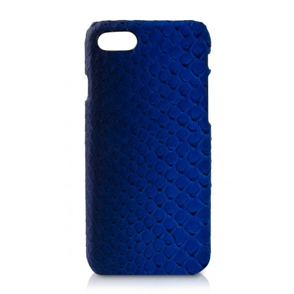 Ammoment - Pitone in Blu Petalo - Cover in Pelle - iPhone 8 / 7