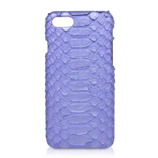 Ammoment - Pitone in Blu Nacre - Cover in Pelle - iPhone 8 / 7