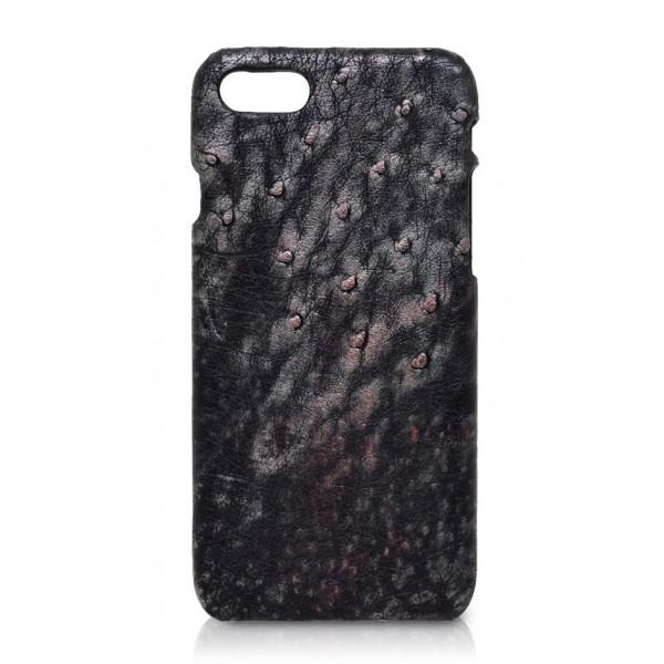 Ammoment - Struzzo in Nero Perla di Tahiti - Cover in Pelle - iPhone 8 / 7