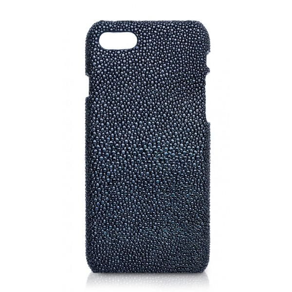 Ammoment - Razza in Glitter Blu Metallico - Cover in Pelle - iPhone 8 / 7