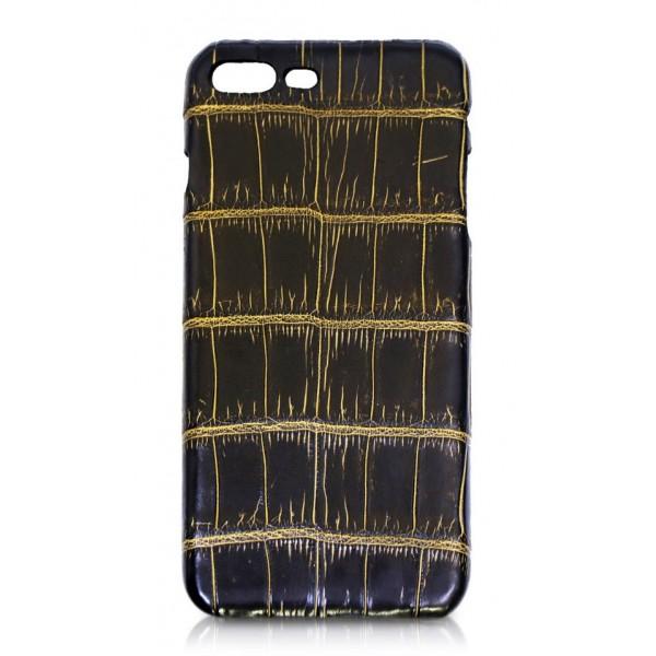 Ammoment - Coccodrillo del Nilo in Nero e Oro - Cover in Pelle - iPhone 8 Plus / 7 Plus