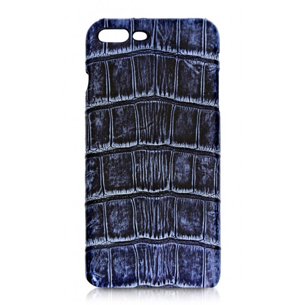 Ammoment - Coccodrillo del Nilo in Navy Antico - Cover in Pelle - iPhone 8 Plus / 7 Plus