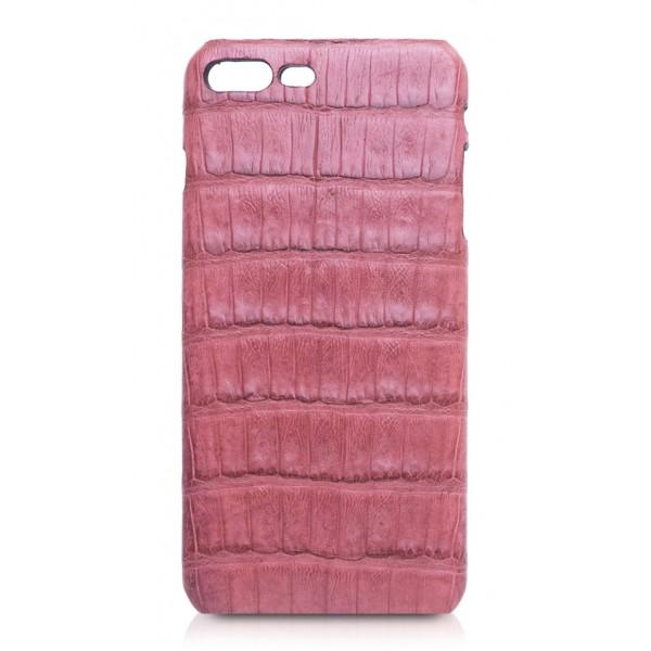 Ammoment - Caimano in Nero Terracotta Antico - Cover in Pelle - iPhone 8 Plus / 7 Plus