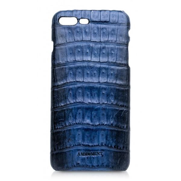 Ammoment - Caimano in Nero Navy Antico - Cover in Pelle - iPhone 8 Plus / 7 Plus