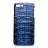 Ammoment - Caimano in Nero Navy Antico - Cover in Pelle - iPhone 8 Plus / 7 Plus