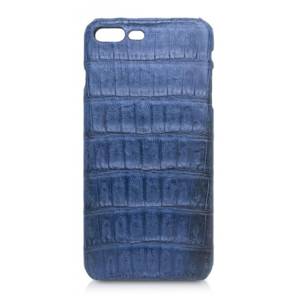 Ammoment - Caimano in Blu Chiaro-Scuro Antico - Cover in Pelle - iPhone 8 Plus / 7 Plus