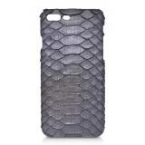 Ammoment - Pitone in Calce Grigia - Cover in Pelle - iPhone 8 Plus / 7 Plus