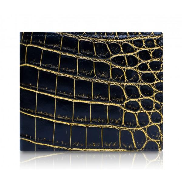 Ammoment - Coccodrillo del Nilo in Nero e Oro - Portafoglio Bi-Fold in Pelle con Flap Centrale
