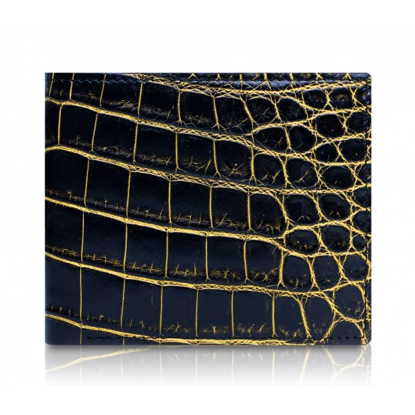 Ammoment - Nile Crocodile in Crack Black and Gold - Leather Bifold Wallet with Center Flap