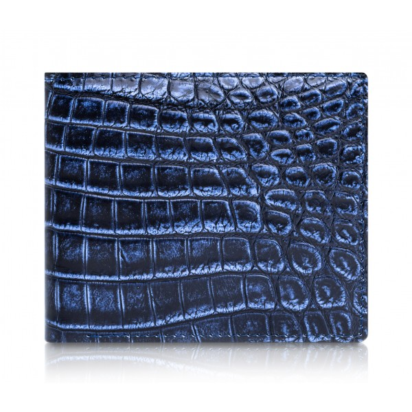 Ammoment - Nile Crocodile in Antique Navy - Leather Bifold Wallet with Center Flap