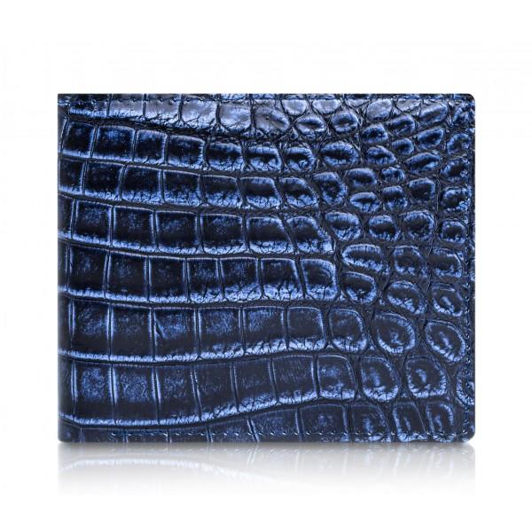 Ammoment - Coccodrillo del Nilo in Navy Antico - Portafoglio Bi-Fold in Pelle con Flap Centrale