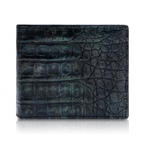 Ammoment - Caiman in Black Northern Light - Leather Bifold Wallet with Center Flap