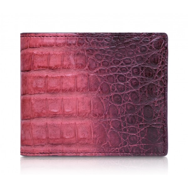 Ammoment - Caiman in Degrade Terracota-Black - Leather Bifold Wallet with Center Flap