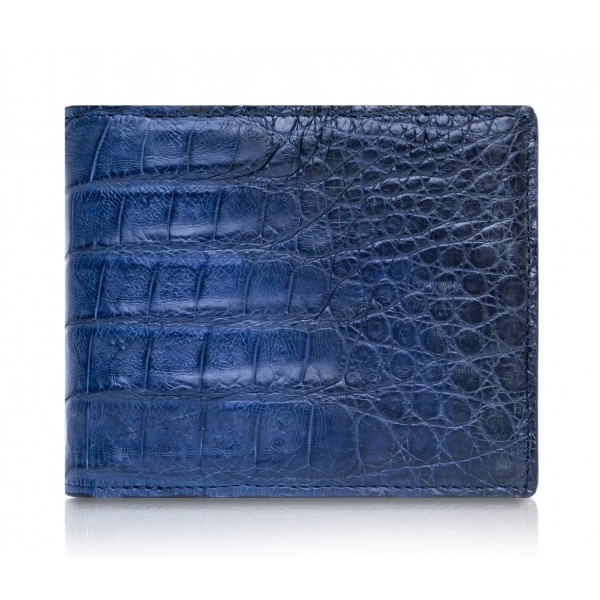 Ammoment - Caiman in Degrade Navy-Black - Leather Bifold Wallet with Center Flap