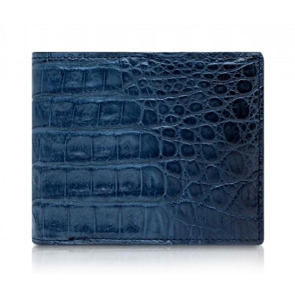 Ammoment - Caimano in Blu Chiaro-Scuro Antico - Portafoglio Bi-Fold in Pelle con Flap Centrale