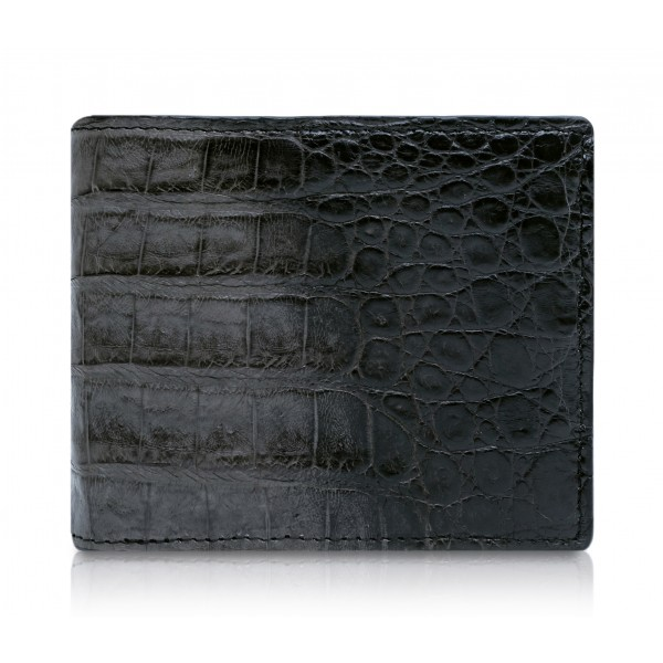 Ammoment - Caiman in Degrade Coal New Age - Leather Bifold Wallet with Center Flap