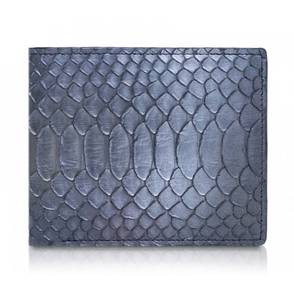 Ammoment - Python in Calcite Grey - Leather Bifold Wallet with Center Flap