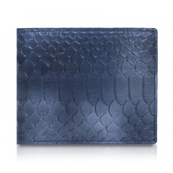 Ammoment - Python in Calcite Blue - Leather Bifold Wallet with Center Flap