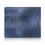 Ammoment - Pitone in Calce Blu - Portafoglio Bi-Fold in Pelle con Flap Centrale