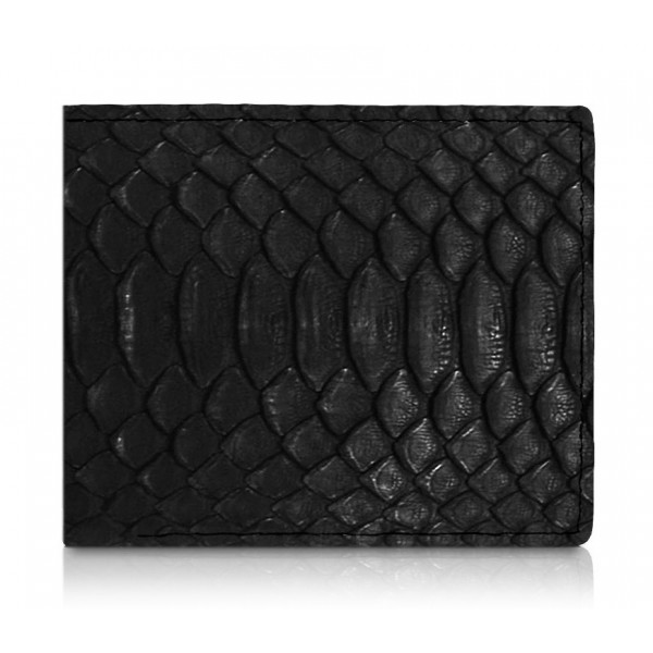 Ammoment - Python in Black - Leather Bifold Wallet with Center Flap