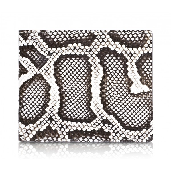 Ammoment - Python in Roccia - Leather Bifold Wallet with Center Flap