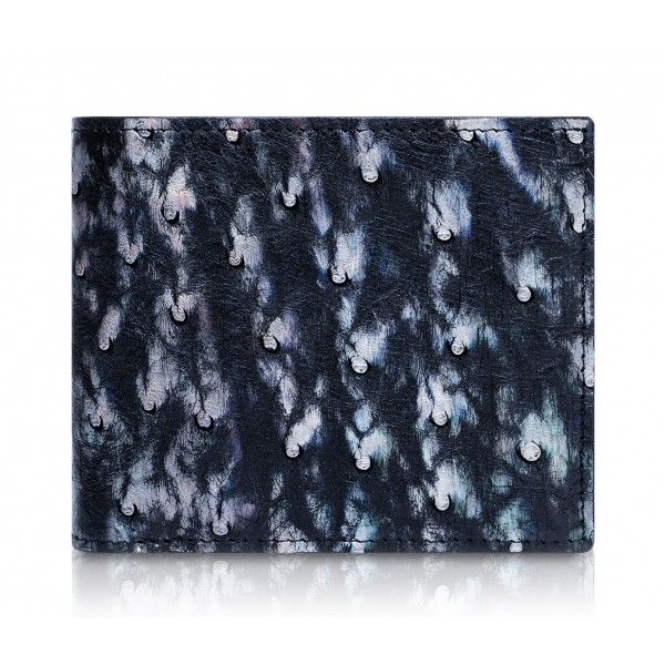 Ammoment - Struzzo in Nero Perla di Tahiti - Portafoglio Bi-Fold in Pelle con Flap Centrale