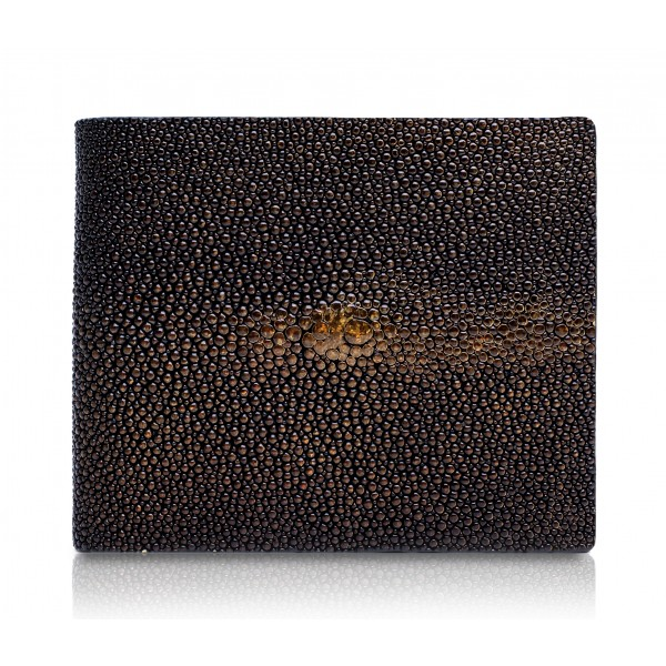 Ammoment - Stingray in Glitter Metallic Brown - Leather Bifold Wallet with Center Flap