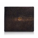 Ammoment - Razza in Glitter Marrone Metallico - Portafoglio Bi-Fold in Pelle con Flap Centrale
