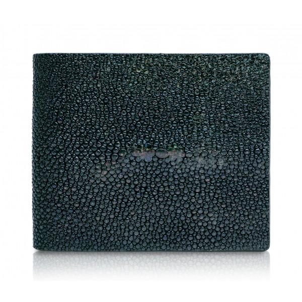 Ammoment - Razza in Glitter Verde Metallico - Portafoglio Bi-Fold in Pelle con Flap Centrale