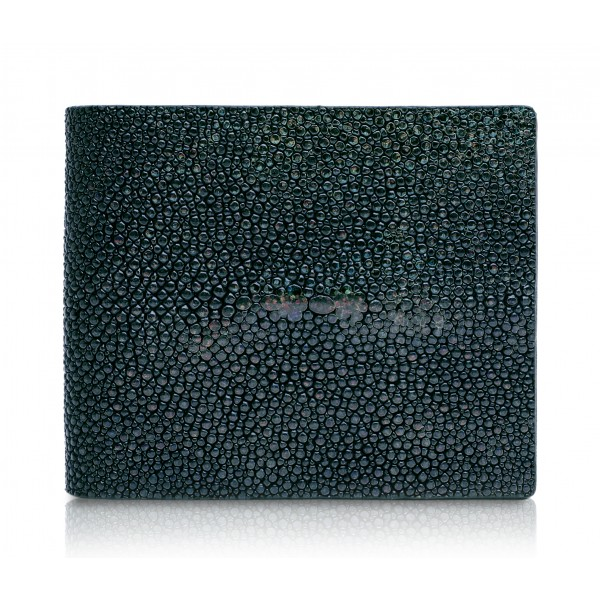 Ammoment - Stingray in Glitter Metallic Green - Leather Bifold Wallet with Center Flap