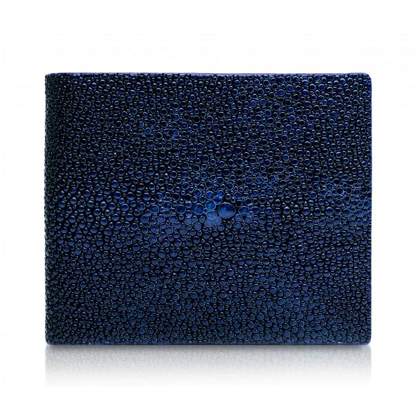Ammoment - Razza in Glitter Blu Metallico - Portafoglio Bi-Fold in Pelle con Flap Centrale