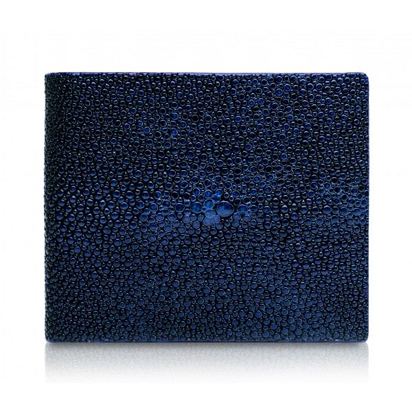Ammoment - Stingray in Glitter Metallic Blue - Leather Bifold Wallet with Center Flap