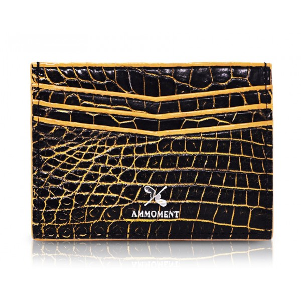 Ammoment - Nile Crocodile in Crack Black and Gold - Leather Credit Card Holder