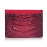 Ammoment - Caimano in Nero Terracotta Antico - Astuccio per Carte di Credito in Pelle