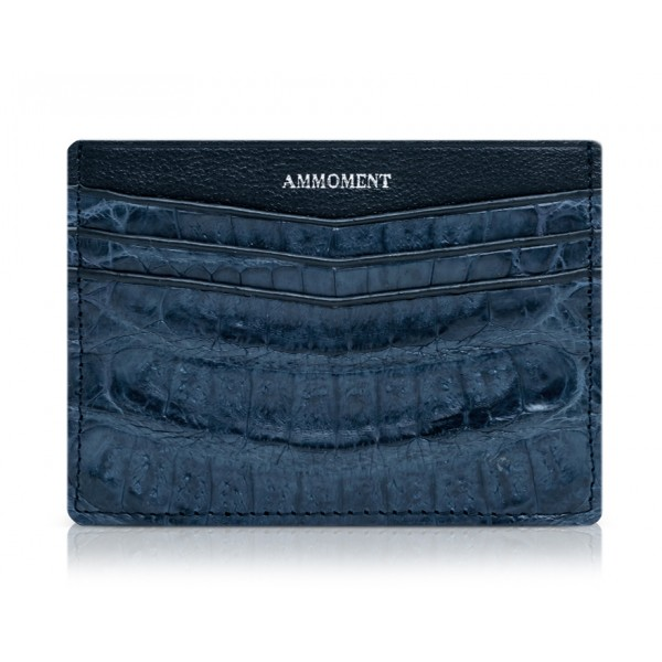 Ammoment - Caiman in Degrade Light-Dark Blue - Leather Credit Card Holder