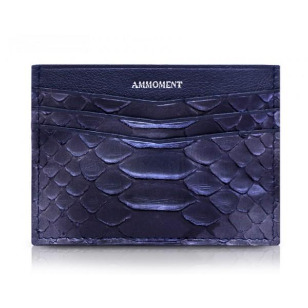 Ammoment - Pitone in Calce Blu - Astuccio per Carte di Credito in Pelle