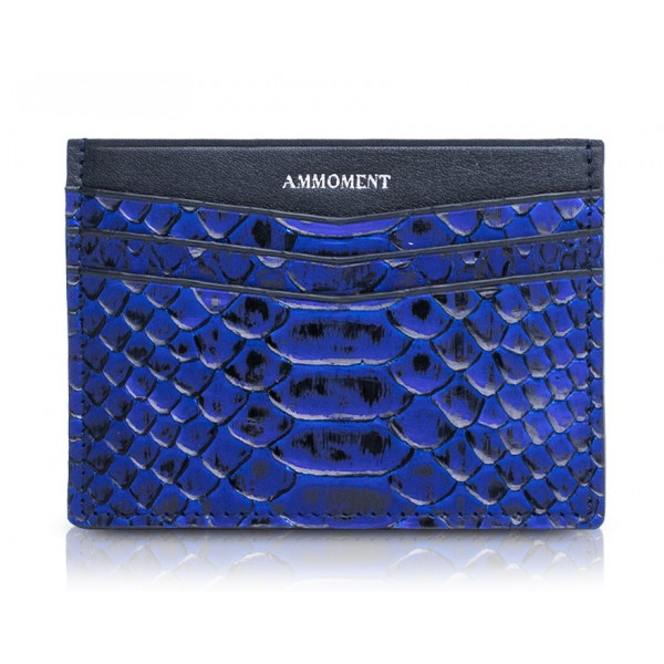 Ammoment - Python in NYX Blue - Leather Credit Card Holder