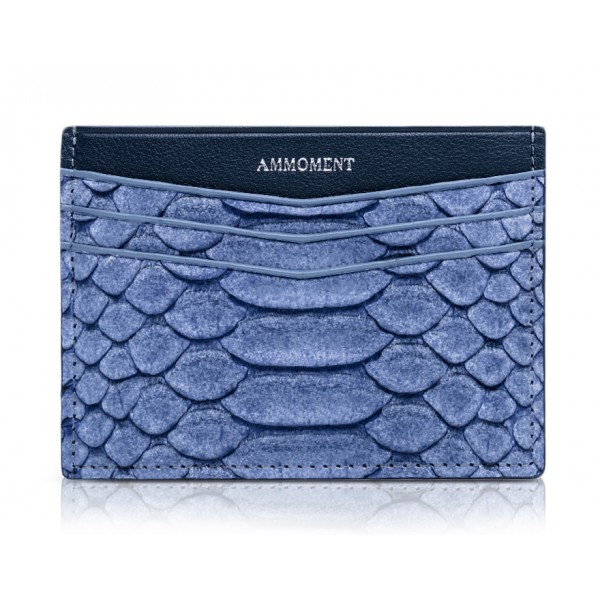 Ammoment - Python in Pomice Blue - Leather Credit Card Holder